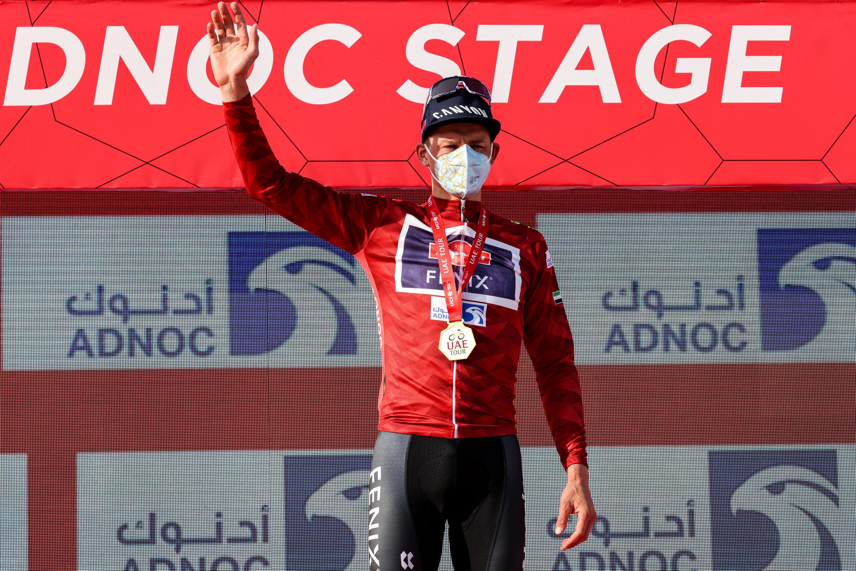 Le Néerlandais Mathieu van der Poel, après sa victoire lors de la première étape de l'UAE Tour, le 21 février 2021 à Al-Mirfa