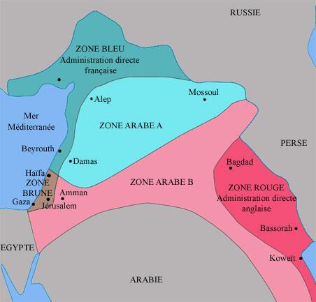 Le découpage de la région selon les accords de Sykes-Picot