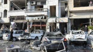 موقع تفجير في حمص 26 كانون الثاني/يناير 2016