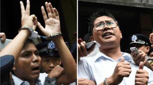 Les journalistes Kyaw Soe Oo et Wa Lone escortés par la police après leur condamnation par un tribunal à la prison de Yangon, le 3 septembre 2018.