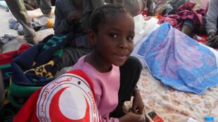 Une fillette dans un centre de détention pour migrants en Libye, le 23 février 2017