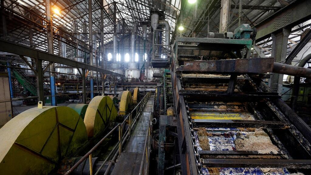 View of the interior of the Central Azucarero Boris Luis Santa Coloma, which remains unemployed in its sugar production, on April 29, 2021 in Madruga, Mayabeque (Cuba).