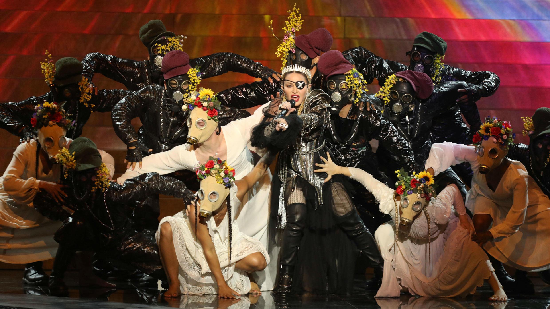 Madonna se presenta como invitada en la Gran Final del Festival de la Canción de Eurovisión 2019 en Tel Aviv, Israel, 19 de mayo de 2019.