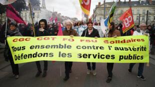 Des manifestations ont lieu dans toute la France jeudi 22 mars, comme ici à Montpellier.