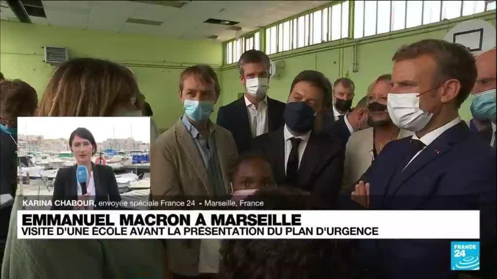 2021-09-02 16:00 Emmanuel Macron à Marseille : visite d'une école et présentation du plan d'urgence