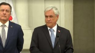 El presidente de Chile, Sebastián Piñera, ofrece una rueda de prensa en el Palacio de la Moneda sobre la convocatoria a una cumbre para crear Prosur, organismo que busca reemplazar a UNASUR, en Santiago de Chile, el 19 de febrero de 2019.