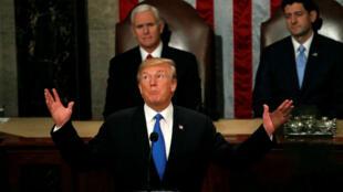 Donald Trump pronuncia su primer discurso del estado de la Unión el 30 de enero del 2018.