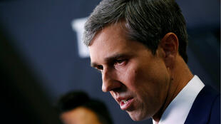 Former Rep. Beto O'Rourke talks to reporters in the Spin Room after the fourth Democratic U.S. 2020 presidential election debate at Otterbein University in Westerville, Ohio October 15, 2019.
