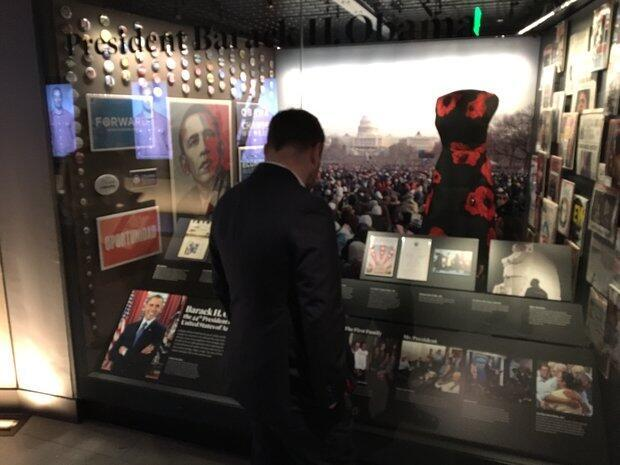 Barack Obama, the first black president of the United States, has his own exhibit at the museum.