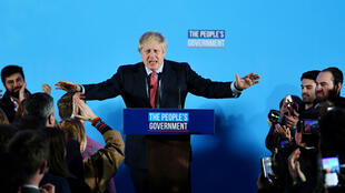 Prime Minister Boris Johnson addresses supporters in London after his resounding victory.