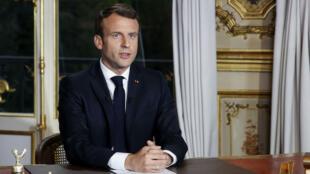 Captura de pantalla realizada el 16 de abril de 2019 durante una alocución del presidente francés Emmanuel Macron en el canal privado francés TV TF1.