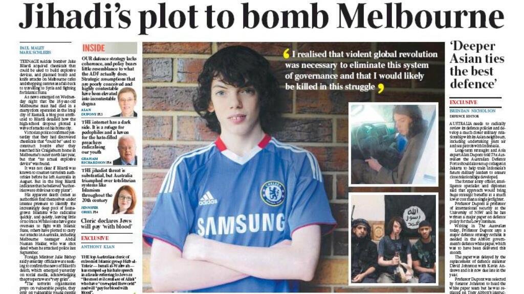 صورة الشاب الأسترالي في إحدى الصحف الأسترالية يوم 13 آذار / مارس 2015