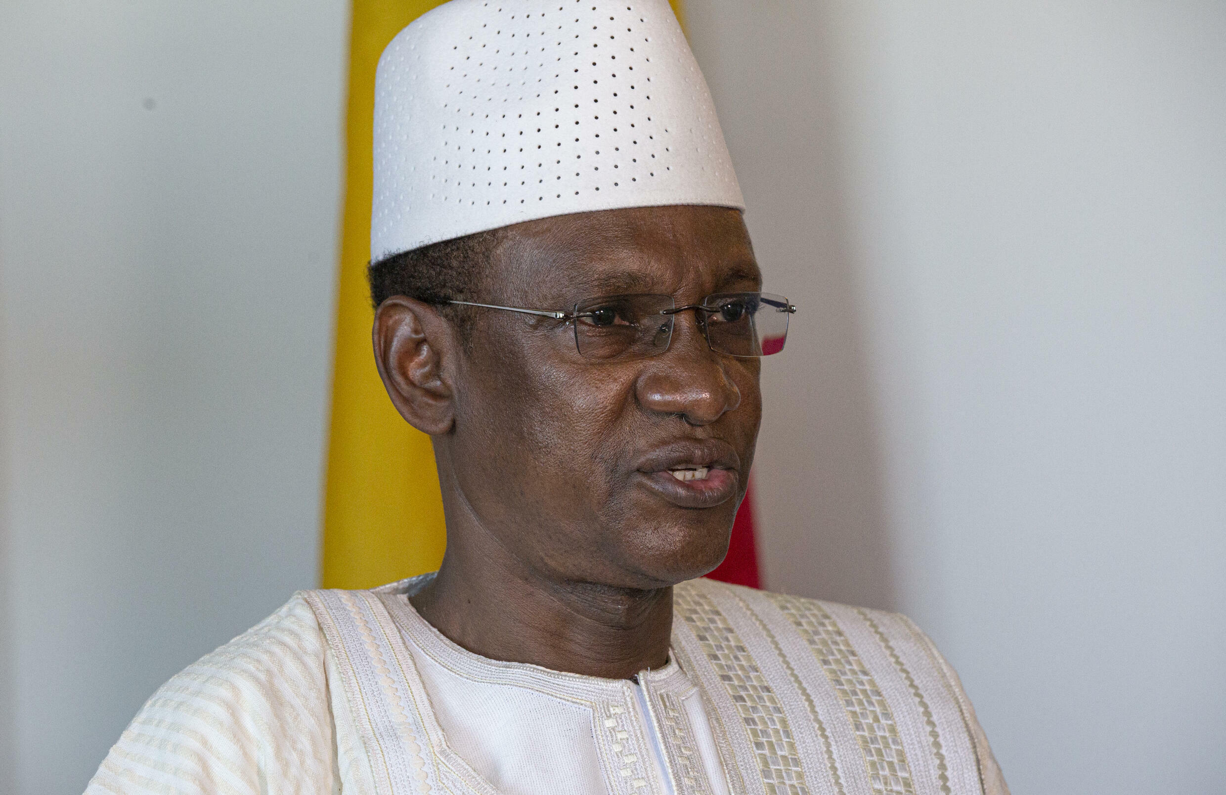 Mali's Prime Minister Choguel Maiga attends an interview with AFP on September 26, 2021 in New York
