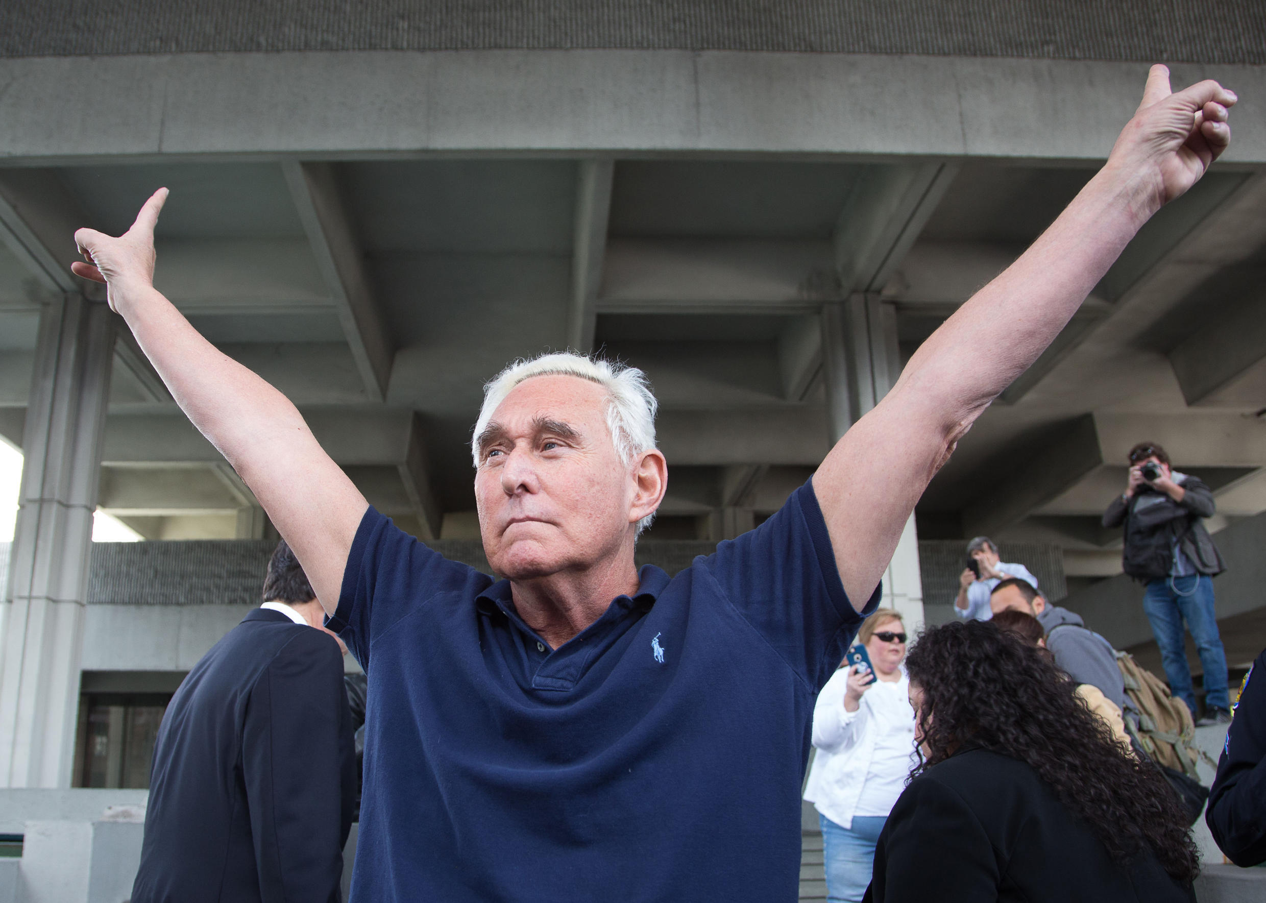 File photo taken Jan. 25, 2019 of Roger Stone outside court in Fort Lauderdale, Florida.