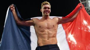 Le Français Kevin Mayer, 25 ans, après sa victoire à Londres le 12 août.