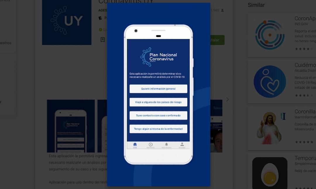 Las alternativas ofrecidas a los usuarios por la app uruguaya Coronavirus UY.