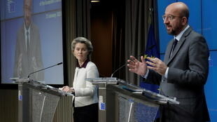 European Commission President Ursula von der Leyen (L) and European Council President Charles Michel at a news conference at the end of a video conference of the members of the European Council on COVID-19 in Brussels, Belgium January 21, 2021.