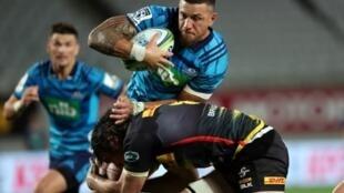 Le centre des All Blacks, Sonny Bill Williams, lors du match de Super Rugby face aux Stormers sud-africains à l'Eden Park d'Auckland, le 30 mars 2019