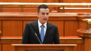Le Premier ministre roumain, Sorin Grindeanu, s'adresse au Parlement, le 4 janvier 2017.