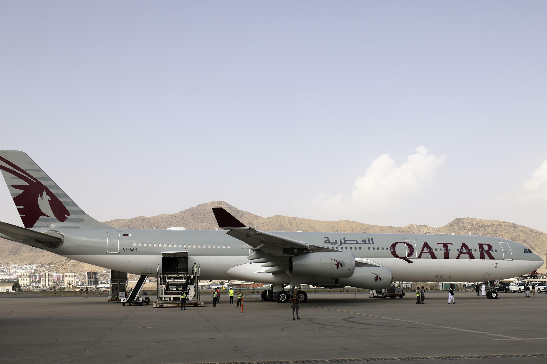 Qatari Foreign Minister Mohammad bin Abdulrahman Al-Thani's aircraft on the tarmac at Kabul airport on September 12, 2021