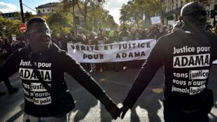 Marche de soutien à la famille d'Adama Traoré, le 5 novembre, à Paris.