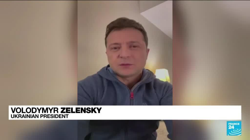"""Ukraine's President Volodymyr Zelensky vows a """"strong response"""" to an attack on his top aide in a video statement recorded in New York on September 22, 2021."""