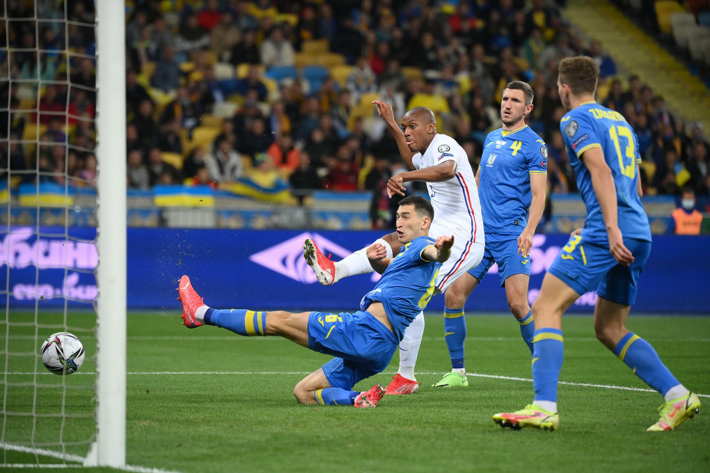 Anthony Martial offre l'égalisation à l'équipe de France face à l'Ukraine au stade olympique de Kiev, le 4 septembre 2021