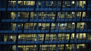Des bureaux vides pendant le confinement, le 9 avril 2020 à Manchester