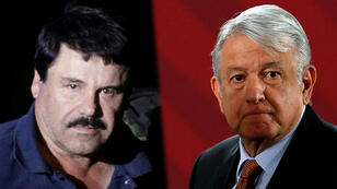 El presidente mexicano Andrés Manuel López Obrador (izq), apoyó la decisión Joaquín 'el Chapo' Guzmán (der) de entregar su patrimonio a las comunidades indígenas en México.