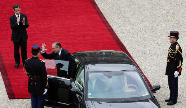Jacques Chirac bids farewell to the presidency and his successor, Nicolas Sarkozy.