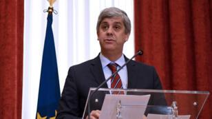 Élu pour deux ans et demi, le chef de l'Eurogroupe Mario Centeno préside les réunions mensuelles des 19 ministres des Finances de la zone euro.
