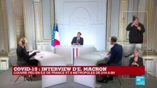2020-10-14 20:11 REPLAY - Interview d'Emmanuel Macron - le non-respect du couvre-feu entraînera une amende de 135  euros