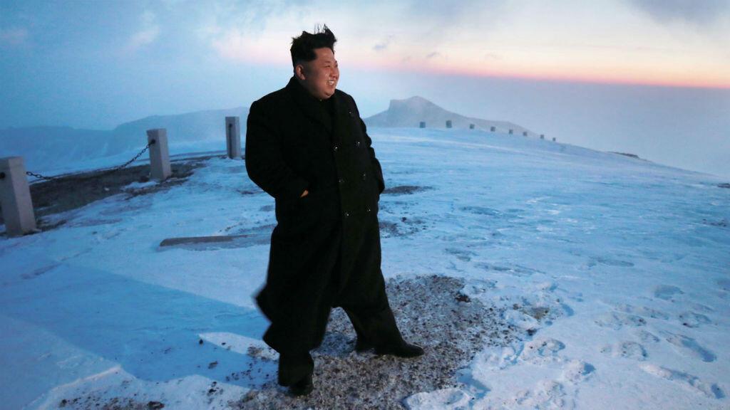 Kim Jong-un sur le mont Paektu en 2015 lors d'une opération de communication.