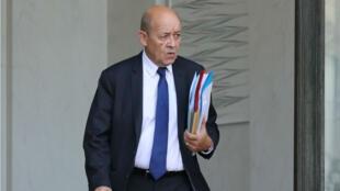 Le ministre des Affaires étrangères Jean-Yves Le Drian, le 24 janvier 2018 à l'Élysée.