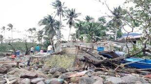 آثار الدمار الناجم عن الإعصار فانفون بالفلبين، 26 كانون الأول/ديسمبر 2019.
