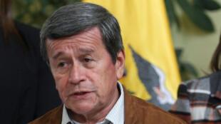 El jefe negociador del ELN, Pablo Beltrán, mientras se dirigía a la prensa desde Quito, Ecuador, el 10 de enero de 2018.