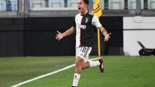 L'attaquant argentin de la Juventus, Paulo Dybala, buteur lors du match de Serie A face l'Inter Milan, à Turin, le 8 mars 2020