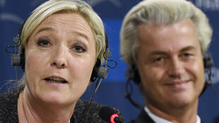 National Front leader Marine Le Pen gives a press conference with Dutch anti-immigration campaigner Geert Wilders shortly after her party's shock victory in European Elections in May.