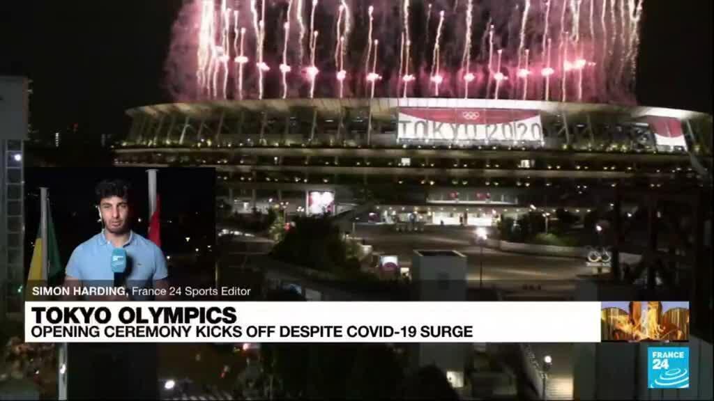 2021-07-23 17:01 Athletes paraded through empty stadium at Tokyo's no-frills opening ceremony