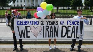 Des manifestants commémorent les deux ans de l'accord sur le nucléaire iranien à Washington, en juillet 2017.