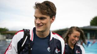 Yannick Agnel à Mulhouse avant les championnats d'Europe de natation, le 9 août  2014.