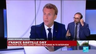 2020-07-14 14:02 France's Macron outlines Covid-19 crisis response in Bastille Day TV interview