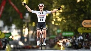 Sunweb rider Denmark's Soren Kragh Andersen soloes to stage 14 victory