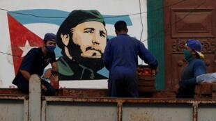 Un portrait de Fidel Castro dans une rue de la Havane, le 20janvier2021.
