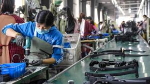 Una fábrica de carritos de bebés en Handan, en el norte de China, en una imagen del 29 de abril de 2020