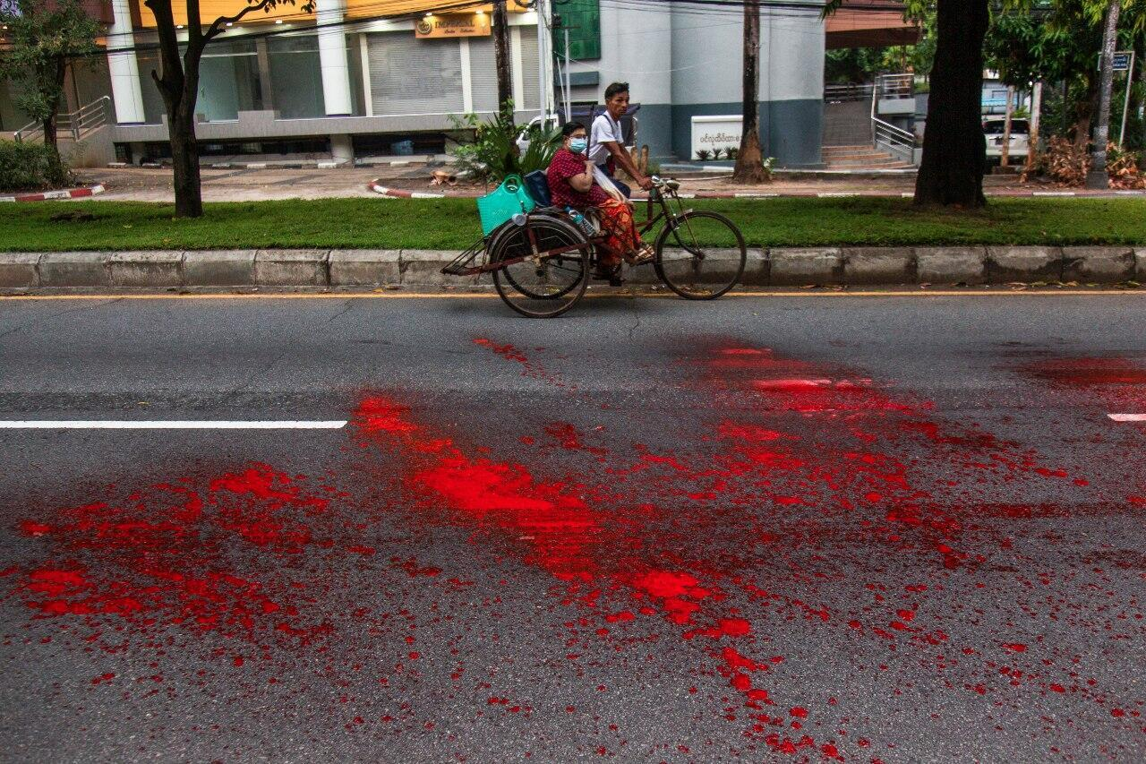 Myanmar protests street red paint