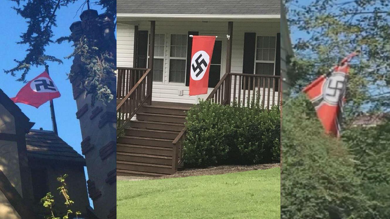 À gauche, un cas de drapeau nazi signalé en novembre 2016. Au centre et à droite, deux drapeaux hissés dans la foulée des violences de Charlottesville.