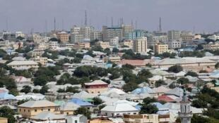 An aerial view of downtown Mogadishu, Somalia, seen on February 14, 2018.