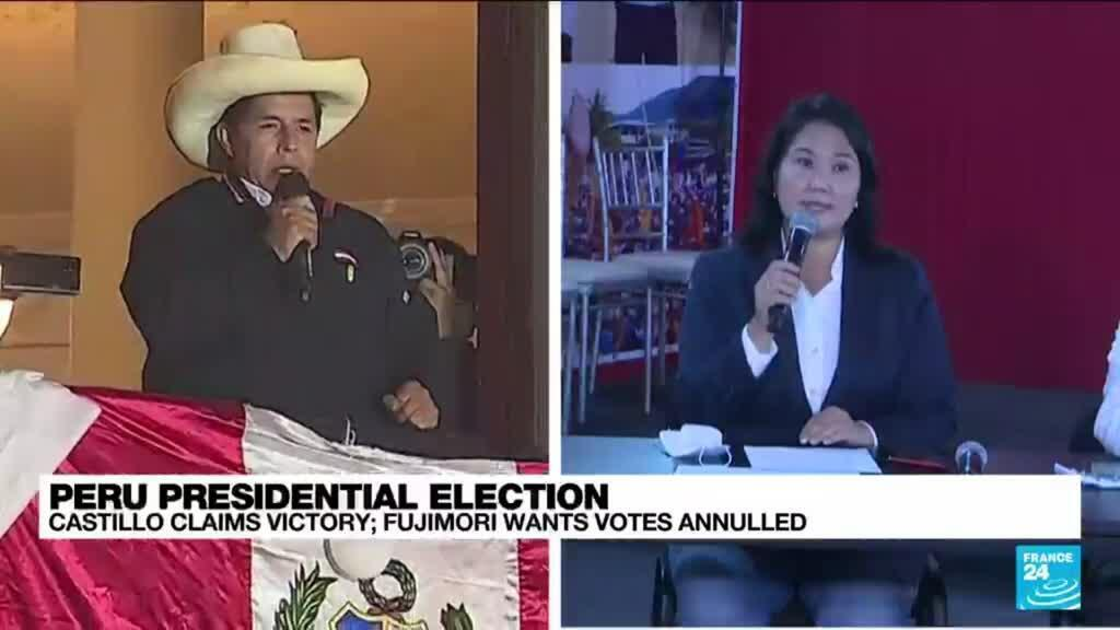 2021-06-10 10:06 Castillo holds razor-thin lead in Peru presidential election as Fujimori wants votes annulled