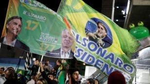 Des partisans de Jair Bolsonaro célèbrent la victoire de leur candidat à Sao Paulo, le 29 octobre 2018.
